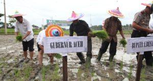 Bupati Aceh Besar Mukhlis Basyah SSos bersama Kadis Pertanian Aceh, Prof Abubakar Karim, Forkopimda, dan pejabat terakit lainnya melaksanakan tanam padi di Gampong Aneuk Glee, Kecamatan Indrapuri, Rabu (21/12/2016).